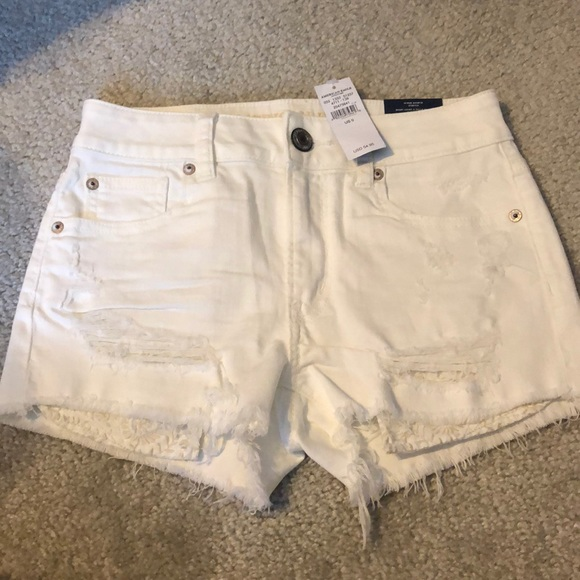 American Eagle Outfitters Pants - AE high-rise white denim shorties sz 0